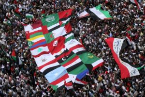 Egyptian demonstrators hold the flags of