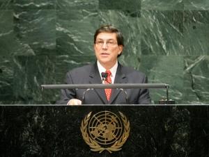 Bruno Rodríguez Parrilla cuando era Embajador de Cuba ante la ONU