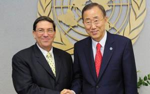 Bruno Rodríguez Parrilla con el Secretario General de la ONU, Ban Ki Moon.