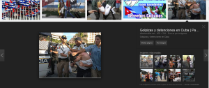 Si buscas fotos y artículos de derechos humanos en Cuba mira como ponen a policías MEXICANOS arrestando a un manifestante en un articulo sobre Cuba.